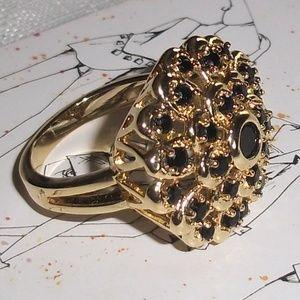 Gold Crown Black Onyx Ring